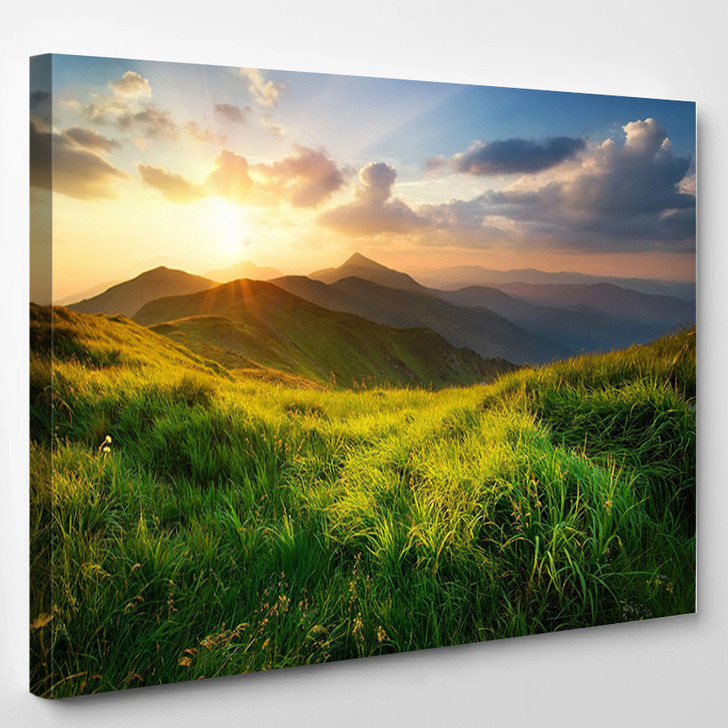 Mountain Valley During Sunrise Natural Summer Landscape - Nature Canvas Art Print