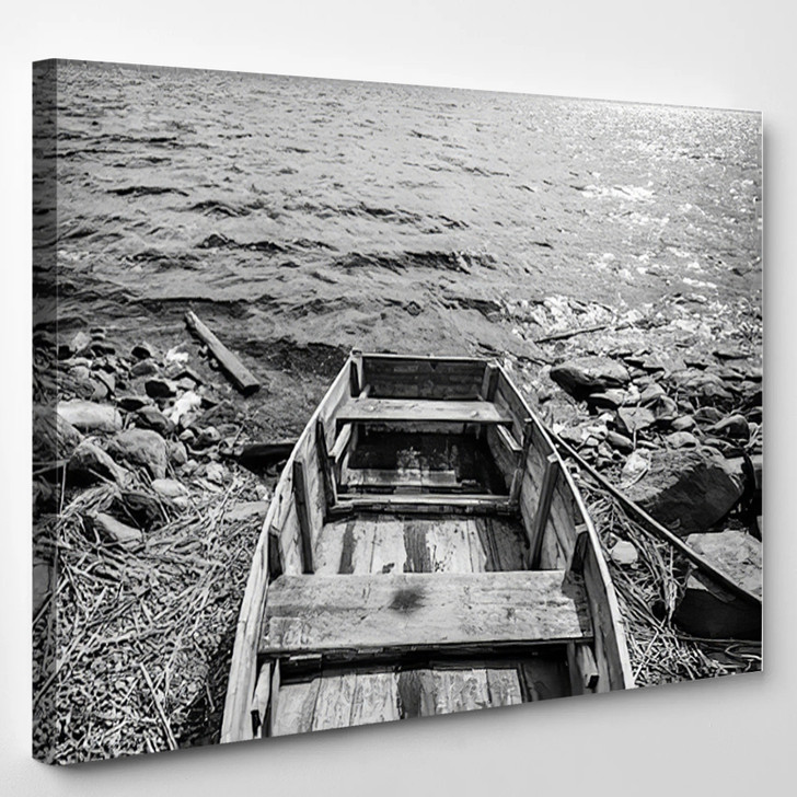 Old Wooden Fishing Boat On Lake Coast In Karelia Black And White - Landscape Canvas Art Print