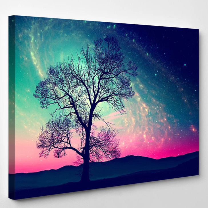 Red Alien Landscape With Alone Tree Over The Night Sky With Many Stars - Sky and Space Canvas Art Print