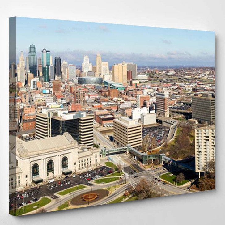 A Large Panoramic View Of Kansas City Missouri During The Daytime 2 - Landscape Canvas Art Print