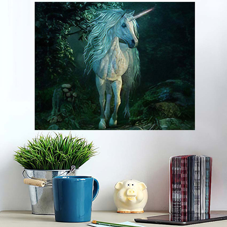 3D Computer Graphics Mythical Unicorn On - Fantasy Poster Art
