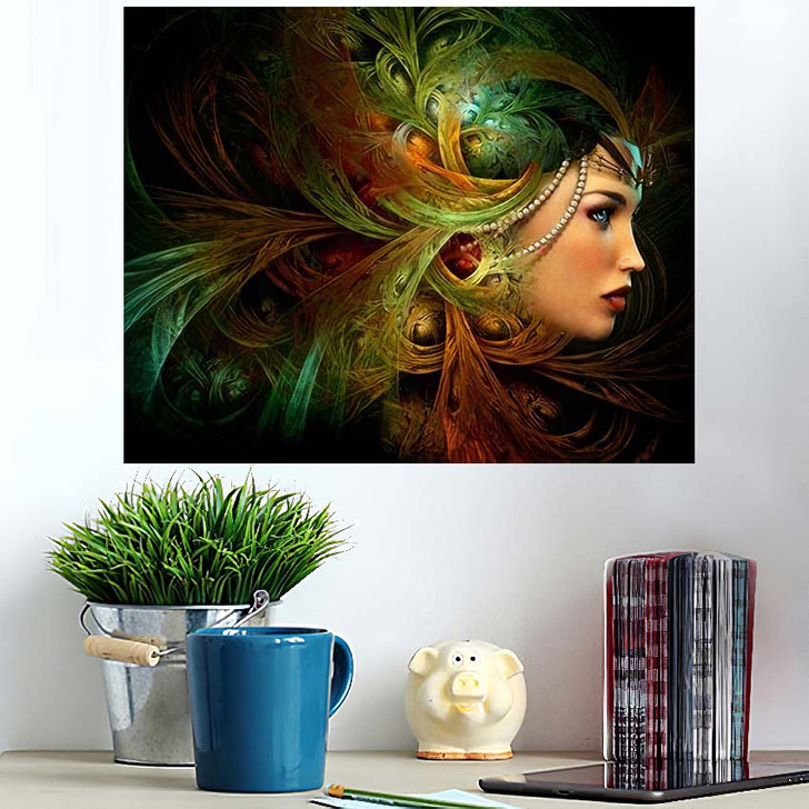 3D Computer Graphics Portrait Lady Abstract - Fantasy Poster Art