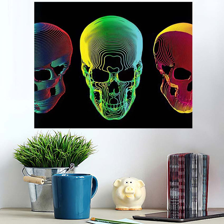 3 Psychedelic Gradient Colorful Line Skull - Psychedelic Poster Art