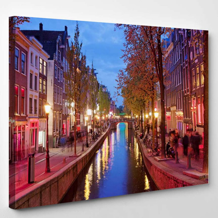 Amsterdam Red Light District Area In The City Centre At Dusk North Holland The Netherlands 2 - Landscape Canvas Art Print