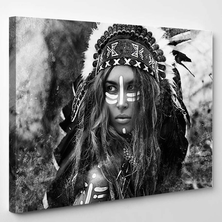 Attractive Young Woman In Chieftain Black And White Portrait Indian Style - Abstract Canvas Art Print
