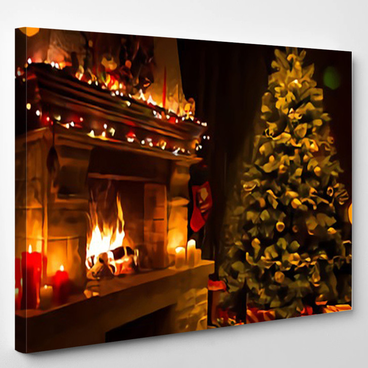 A Warm Fireplace At Christmas - Abstract Canvas Art Print