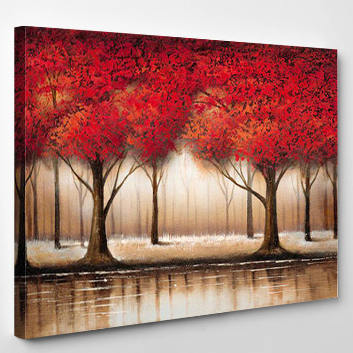 Parade Of Red Tree Landscape - Nature Canvas Art Print