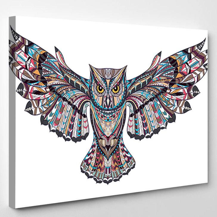 Native Indian Owl - Abstract Animal Canvas Art Print