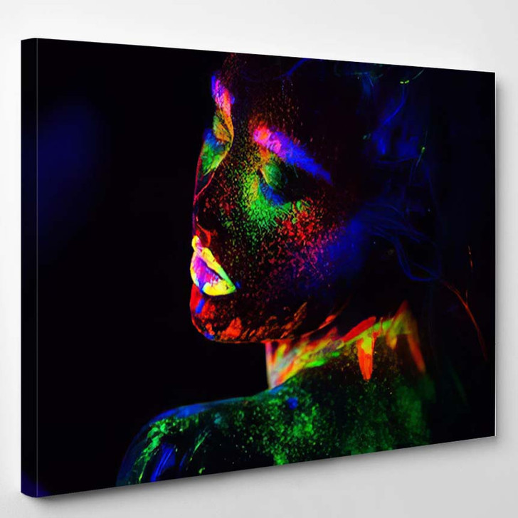 Beautiful Extraterrestrial Model Woman In Neon Light - Abstract Canvas Art Print