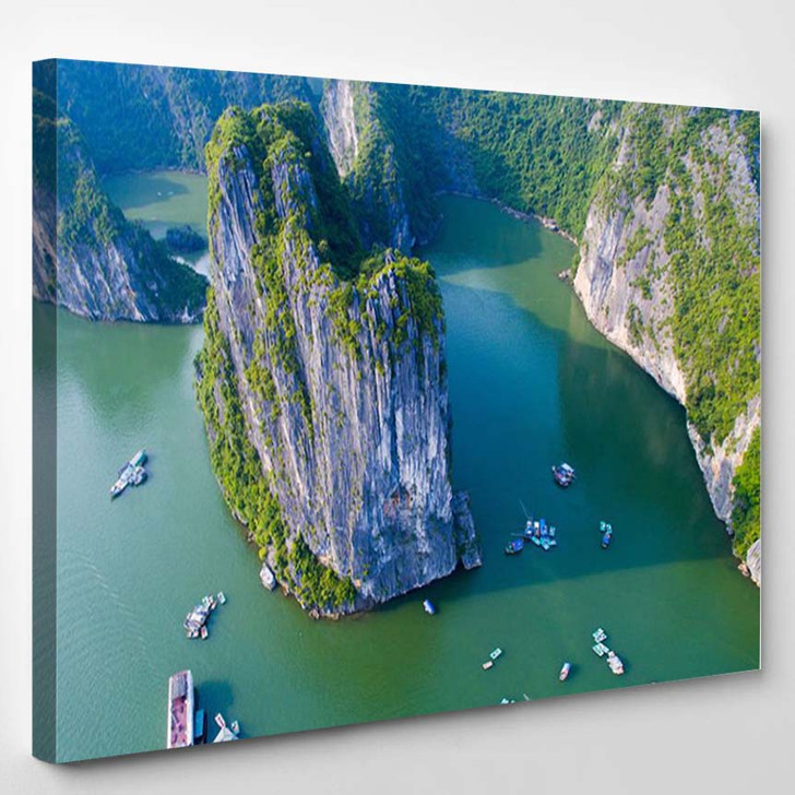 Beautiful Seascape With Sea And Mountain From Halong Bay Vietnam - Nature Canvas Art Print