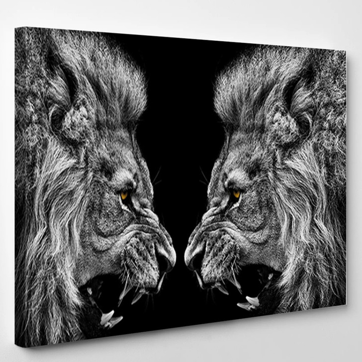 A Roaring Lions Black And White Painting - Abstract Canvas Art Print