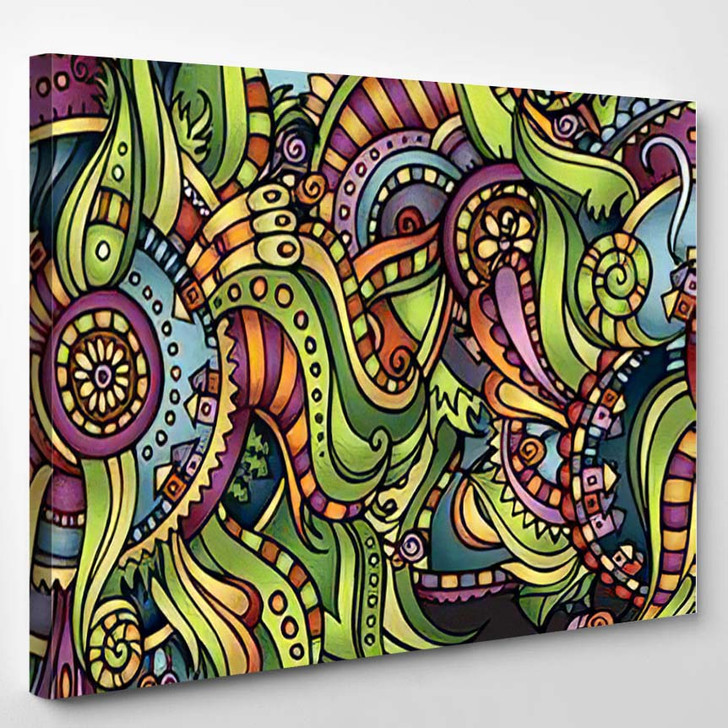 Abstract Vector Decorative Nature Ornamental Seamless - Hippies Canvas Art Print