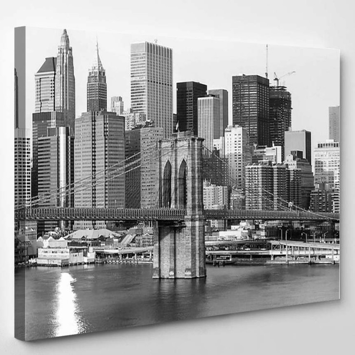 Black And White Extra Large New York - Landscape Canvas Art Print
