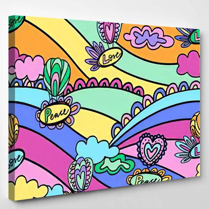 Doodle Hand Drawn Vector Illustration Abstract - Hippies Canvas Art Print