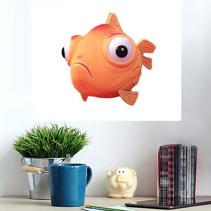 3D Cartoon Character Spherical Goldfish Big - Cartoon Poster Art