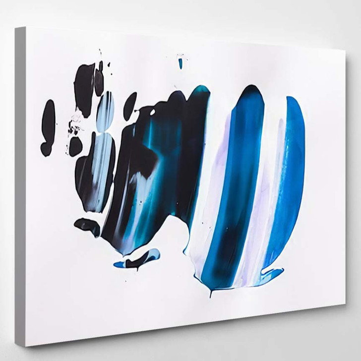 Blue And Black Abstract - Abstract Canvas Art Print