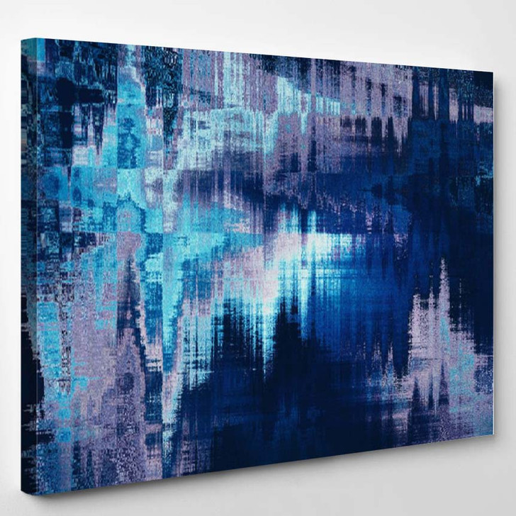 Blue Blurred Abstract Background Texture With Stripes - Abstract Canvas Art Print