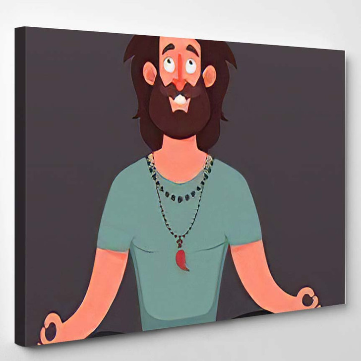 Funny Cartoon Character Young Hipster Sitting - Hippies Canvas Art Print