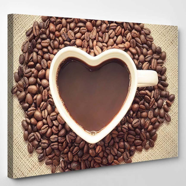 Coffee A Cup Of Coffee With A Heart Shape Surrounded By Coffee Beans - Nature Canvas Art Print