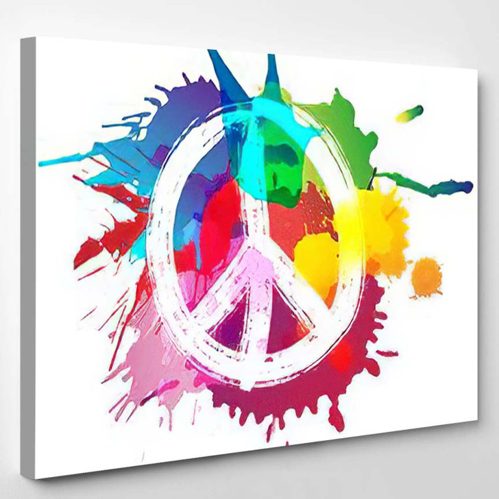 Peace Sign Front Colorful Splashes - Hippies Canvas Art Print