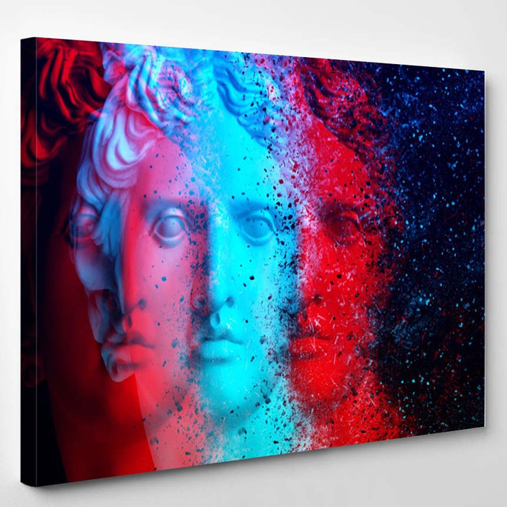 3D Anaglyph Effect Gypsum Statue Apollos - Canvas Art Print