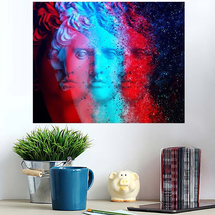 3D Anaglyph Effect Racial Discrimination Trinitas - Abstract Art Poster Art