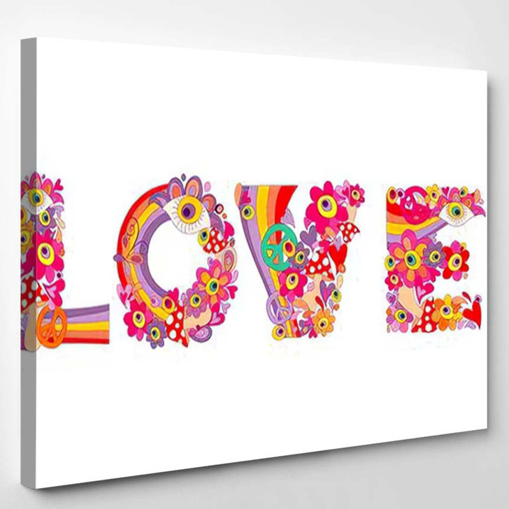 Psychedelic Hippie Love Lettering Colorful Abstract - Hippies Canvas Art Print