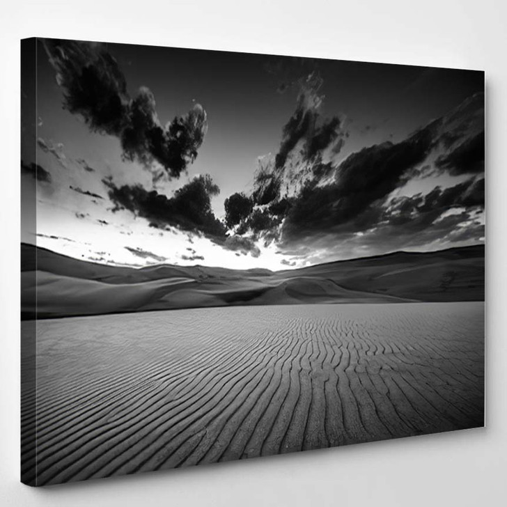 Dramatic Sky Over Desert Dunes Black And White Landscapes - Nature Canvas Art Print