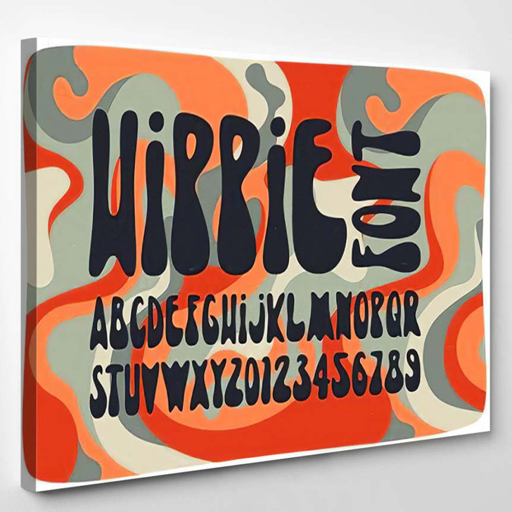 Smooth Hippie Font Wavy Psychedelic Seamless - Hippies Canvas Art Print