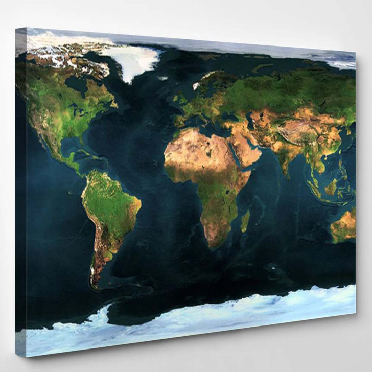 Earth Maps Continents - World Map Canvas Art Print