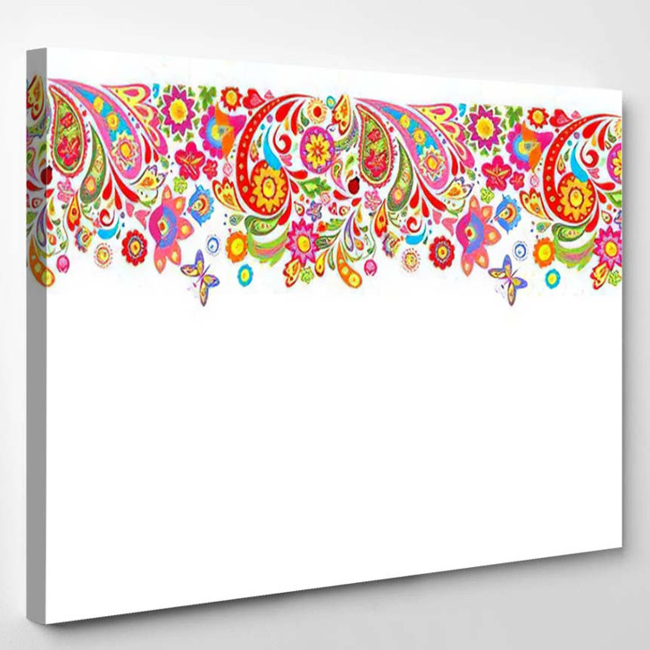 Summery Seamless Border Decorative Colorful Flowers - Hippies Canvas Art Print