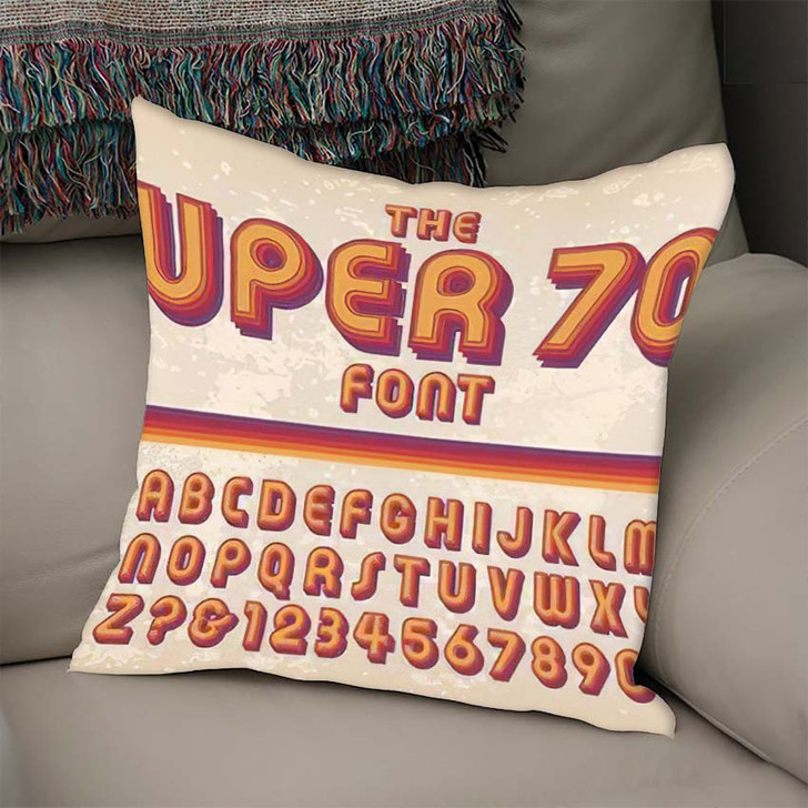 1970S Styled Retro Alphabet Against Grunge - Hippies Throw Pillow