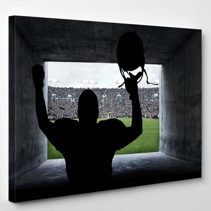 Football Player Running Out Of The Stadium Tunnel - Sports And Recreation Canvas Art Print