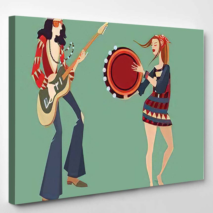 Vector Illustration Two Hippies Playing Musical 1 - Hippies Canvas Art Print