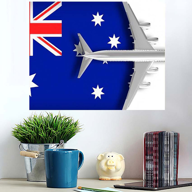 3D Illustration Flag Australia Airplane Flying - Airplane Airport Poster Art