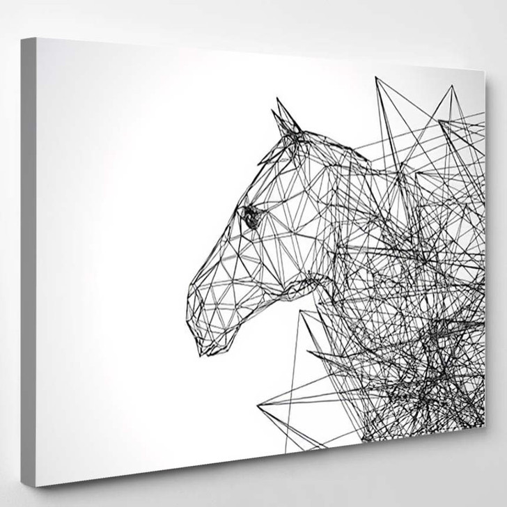 Horse Stylized Low Poly Wire Construction Concept Concepts Connection - Abstract Canvas Art Print