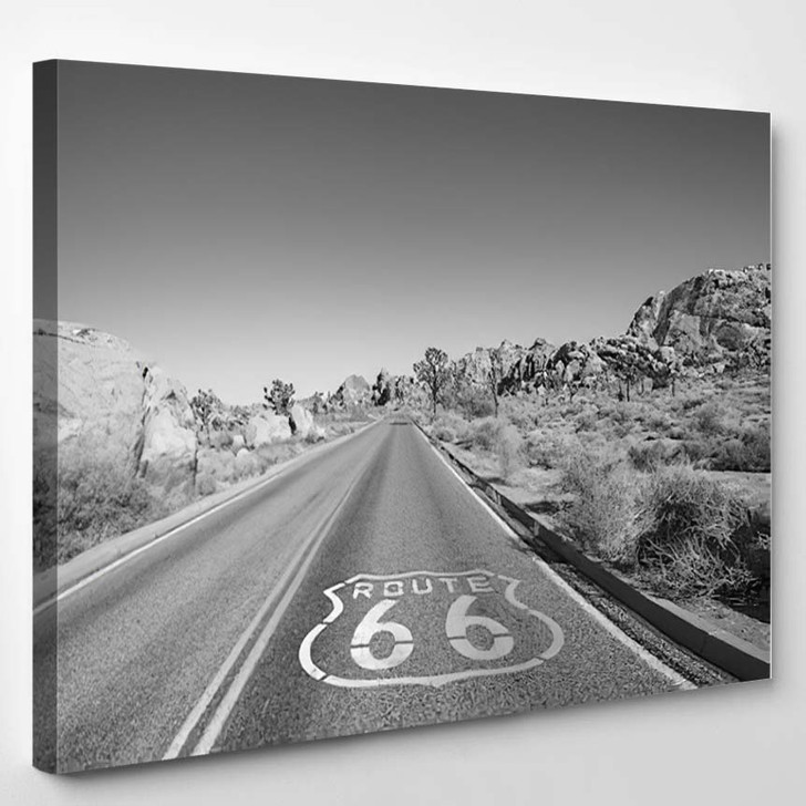 Joshua Tree Highway With Route 66 Pavement Sign In Black And White - Landscape Canvas Art Print