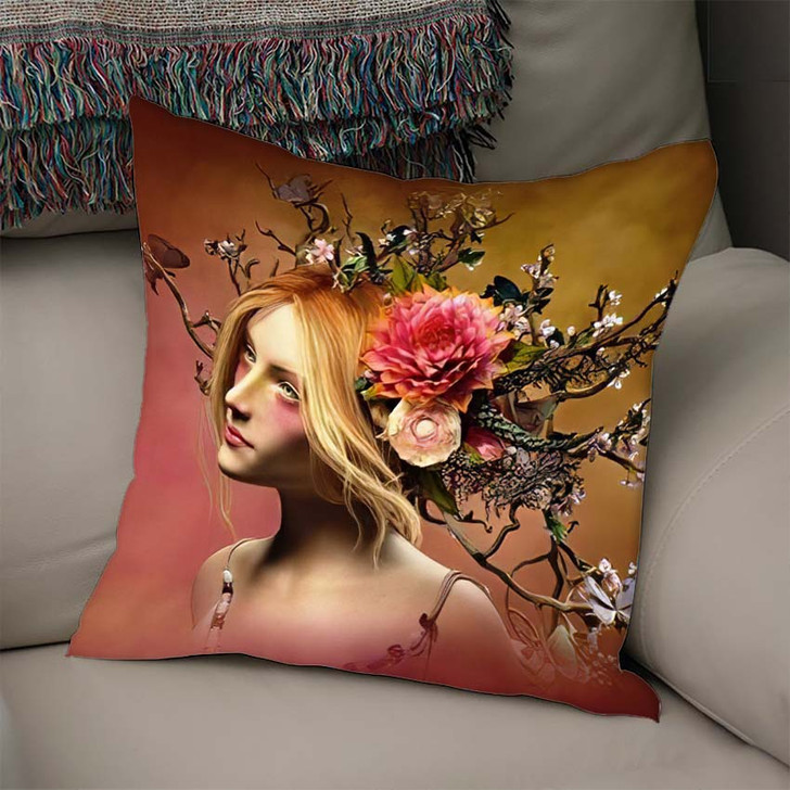 3D Computer Graphics Portrait Girl Headdress - Fantasy Throw Pillow