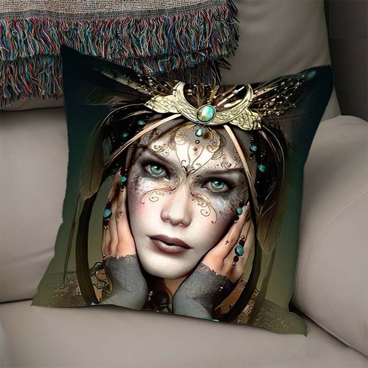 3D Computer Graphics Portrait Girl Headgear - Fantasy Throw Pillow
