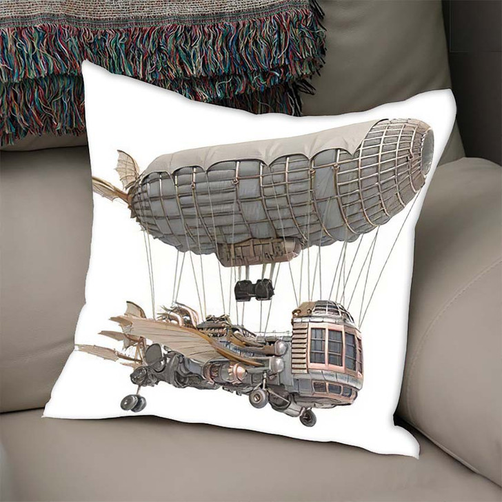 3D Illustration Fantasy Airship Steampunk Style - Fantasy Throw Pillow