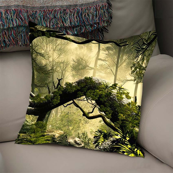 3D Illustration Forest Landscape Dense Cloudy - Fantasy Throw Pillow