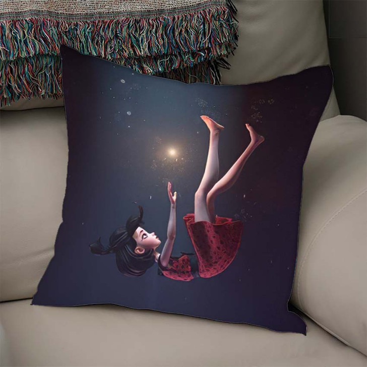 3D Illustration Girl Retro Dress Falling - Fantasy Throw Pillow