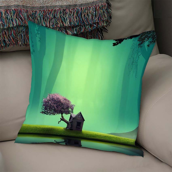 3D Illustration House Lakeside Forest Fantasy - Fantasy Throw Pillow