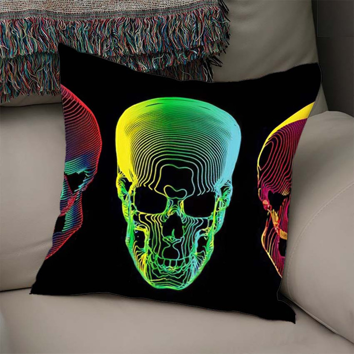 3 Psychedelic Gradient Colorful Line Skull - Psychedelic Throw Pillow