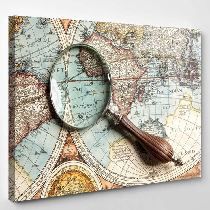 Magnifying Glass And Ancient Old Map - World Map Canvas Art Print