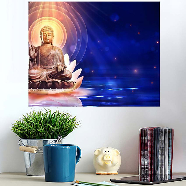 3D Illustration Buddha Sat Lotus Flower 2 - Buddha Religion Poster Art