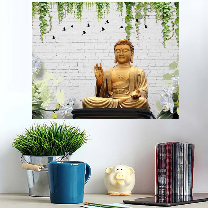 3D Illustration Buddha Wallpaper Beautiful Grass - Buddha Religion Poster Art