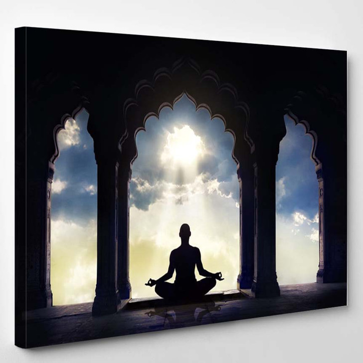 Meditating In Old Temple - Religion Canvas Art Print