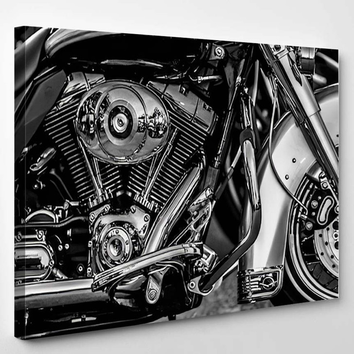 Motorbike Engine In Black And White - Industrial Canvas Art Print