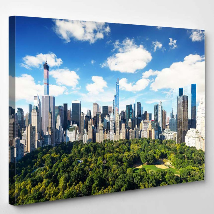New York City Central Park View To Manhattan With Park At Sunny Day - Landscape Canvas Art Print